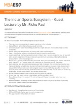 The Indian Sports Ecosystem – Guest Lecture by Mr. Richu Paul