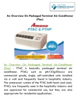 An Overview On Packaged Terminal Air-Conditioner (Ptac)