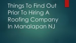 Things To Find Out Prior To Hiring A Roofing Company In Manalapan NJ