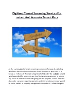 Digitized Tenant Screening Services For Instant And Accurate Tenant Data