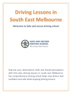 Driving Lessons South East Melbourne | Safe and Secure Driving School