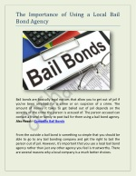 The Importance of Using a Local Bail Bond Agency