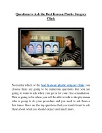 Questions to Ask the Best Korean Plastic Surgery Clinic