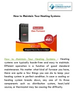 How to Maintain Your Heating Systems