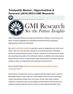 Telehealth Market : Opportunities & Forecast (2016-2021)-GMI Research