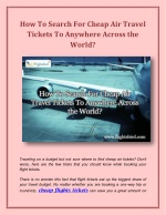 How To Search For Cheap Air Travel Tickets To Anywhere Across the World?