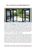 Tips on Selecting Your Folding Sliding Doors