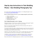 Step by step instructions to Take Wedding Photos – Best Wedding Photography Tips