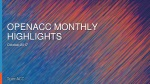 OpenACC Month Highlights- October