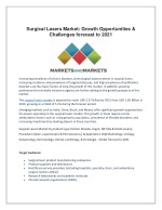 Surgical Lasers Market: Growth Opportunities & Challenges forecast to 2021