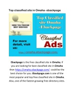 Top classified site in Omaha- ebackpage