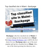 Top classified site in Miami -ibackpage