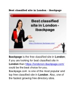 Best classified site in London - ibackpage