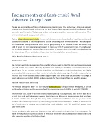 Facing month end Cash-crisis? Avail Advance Salary Loan.