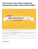 Sensible social media marketing checklist for business by the Whole Brain Group