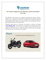 Get Instant Approval Two Wheeler and Second Hand Car Loan