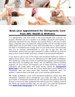 Book your appointment for Chiropractic Care from ARC Health & Wellness