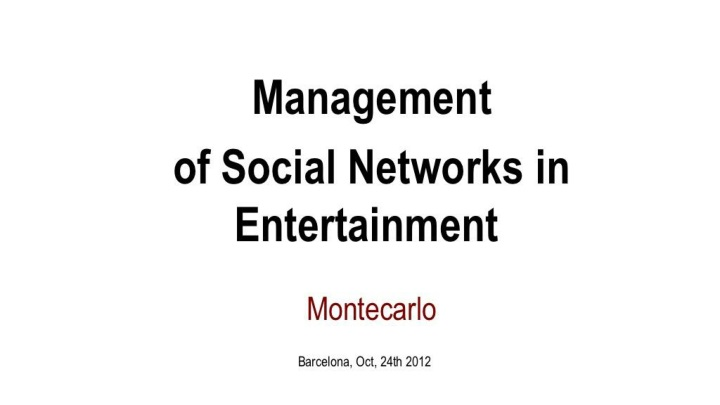 managment of social network enterntainment n.