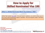 How to Apply for Skilled Nominated Visa 190