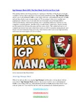 Igp Manager Hack 2019, The Best Hack Tool To Get Free Cash