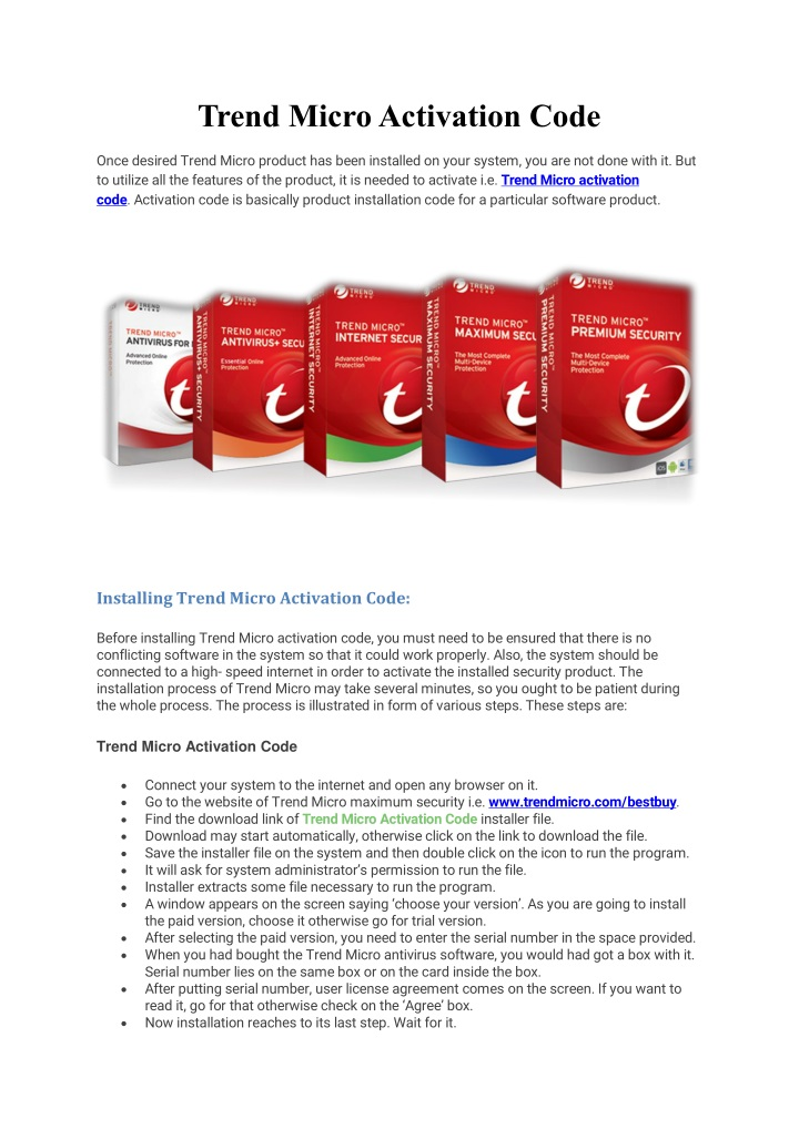 trend micro activation code n.