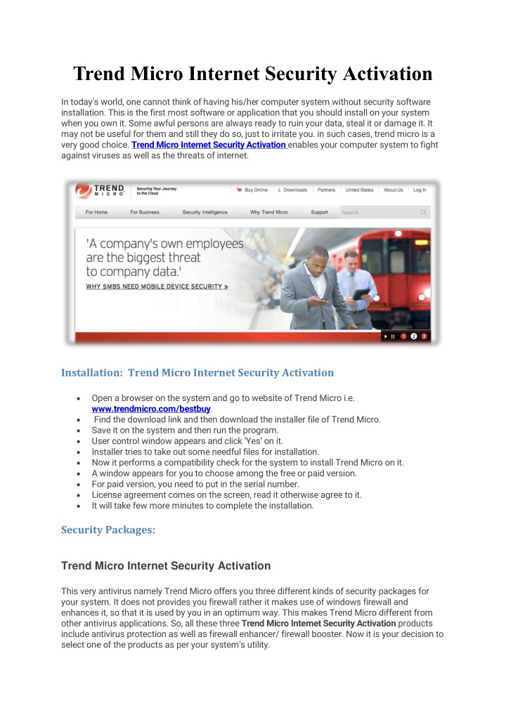 trend micro internet security activation n.