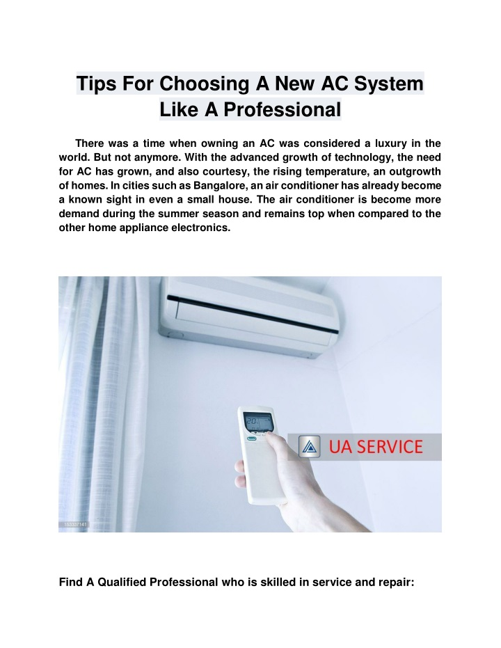 tips for choosing a new ac system like n.