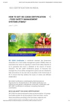 HOW TO GET ISO 22000 CERTIFICATION - FOOD SAFETY MANAGEMENT SYSTEMS (FSMS)?