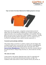 Tips to Select the Best Material for Making Sports Jerseys