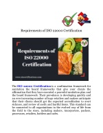 Requirements of ISO 22000 Certification