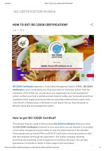 HOW TO GET ISO 22000 CERTIFICATION (fsms)?
