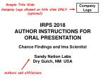 IRPS 2018 AUTHOR INSTRUCTIONS FOR ORAL PRESENTATION