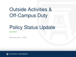 Outside Activities & Off-Campus Duty Policy Status Update