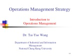 Operations Management Strategy Introduction to Operations Management